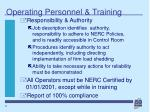operating personnel training