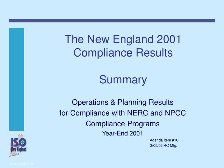 the new england 2001 compliance results summary n.