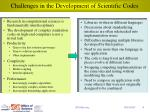 challenges in the development of scientific codes