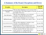a summary of the exam s exceptions and errors