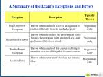a summary of the exam s exceptions and errors1