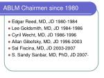 ablm chairmen since 1980