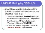 unique ruling by osbmls