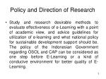policy and direction of research