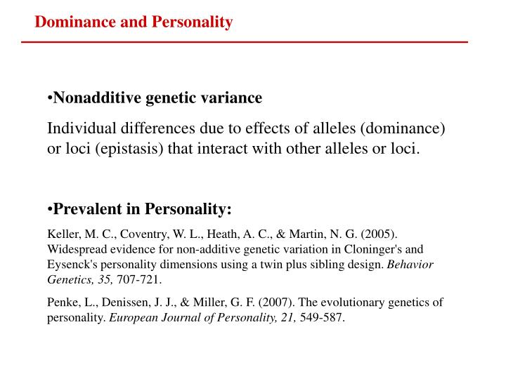 Dominance and Personality