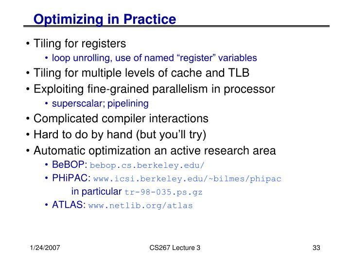 Optimizing in Practice
