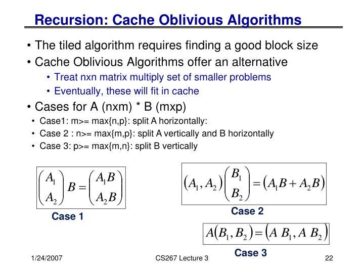 Recursion: Cache Oblivious Algorithms