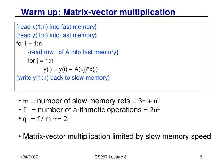Warm up: Matrix-vector multiplication
