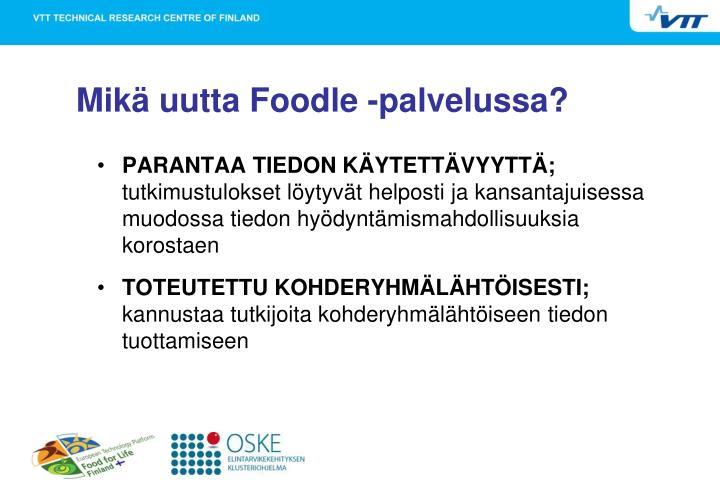 Mikä uutta Foodle -palvelussa?