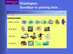 ontologies goodbye to picking lists