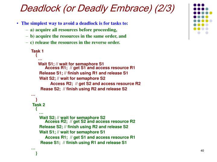 Deadlock (or Deadly Embrace) (2/3)