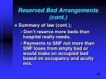 reserved bed arrangements cont