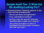 sample audit too 1 what are we auditing looking for