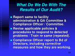 what do we do with the results of our audit