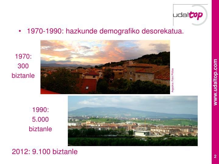 1970-1990: hazkunde demografiko desorekatua.