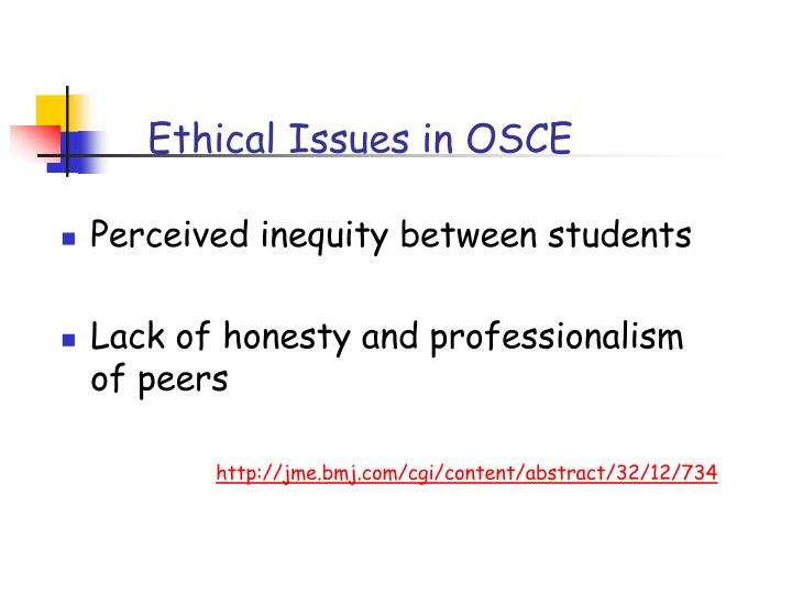 Ethical Issues in OSCE