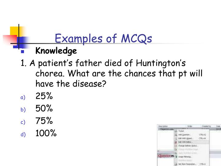 Examples of MCQs