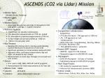 ascends co2 via lidar mission