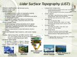 lidar surface topography list