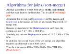 algorithms for joins sort merge