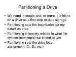 partitioning a drive