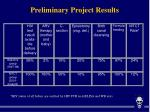 preliminary project results
