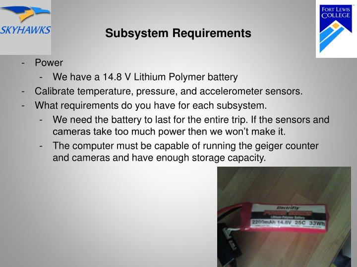 Subsystem Requirements