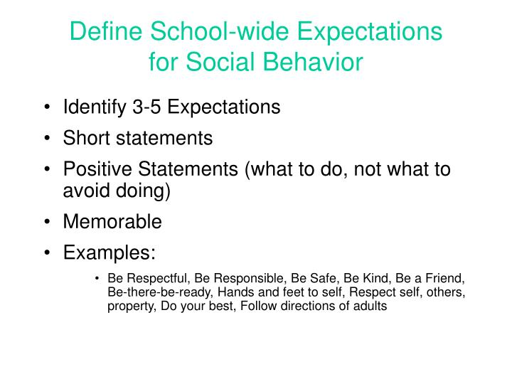 Define School-wide Expectations