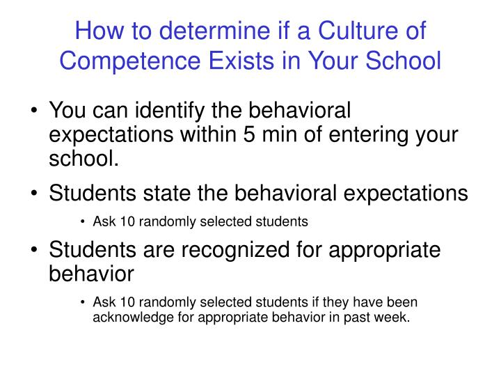 How to determine if a Culture of Competence Exists in Your School