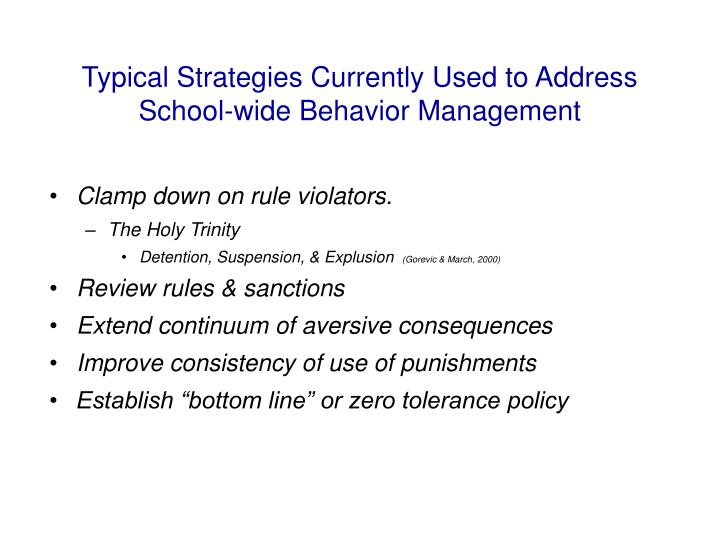 Typical Strategies Currently Used to Address School-wide Behavior Management