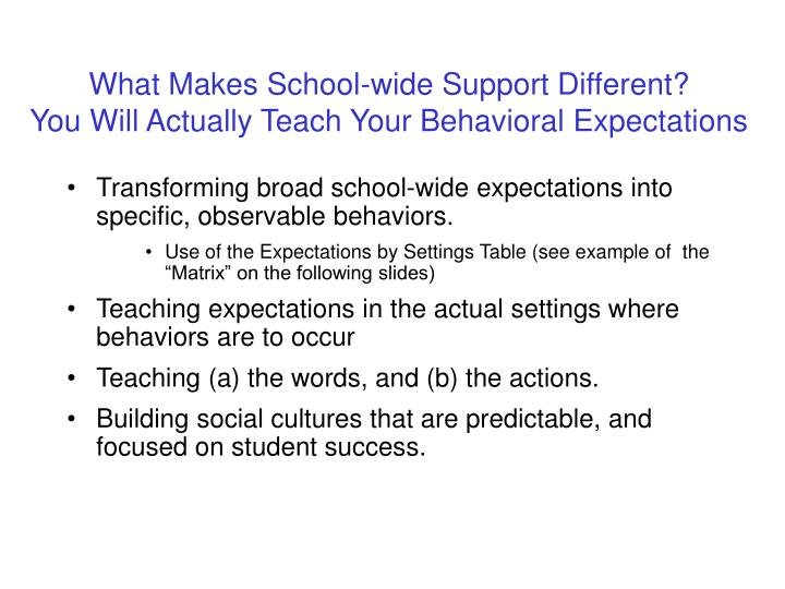 What Makes School-wide Support Different?