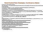 hand coded rule example conference name