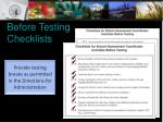 before testing checklists