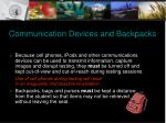 communication devices and backpacks