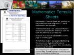 mathematics formula sheets