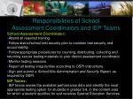 responsibilities of school assessment coordinators and iep teams
