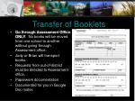 transfer of booklets