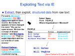 exploiting text via ie
