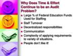 why does time effort continue to be an audit problem