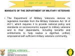 mandate of the department of military veterans