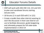 educator forums details