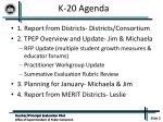 k 20 agenda