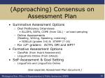 approaching consensus on assessment plan