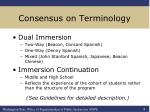 consensus on terminology