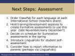 next steps assessment