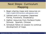 next steps curriculum mapping