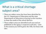 what is a critical shortage subject area