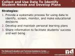 collect and use data to identify student needs and develop plans