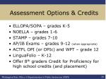 assessment options credits