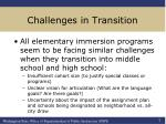 challenges in transition